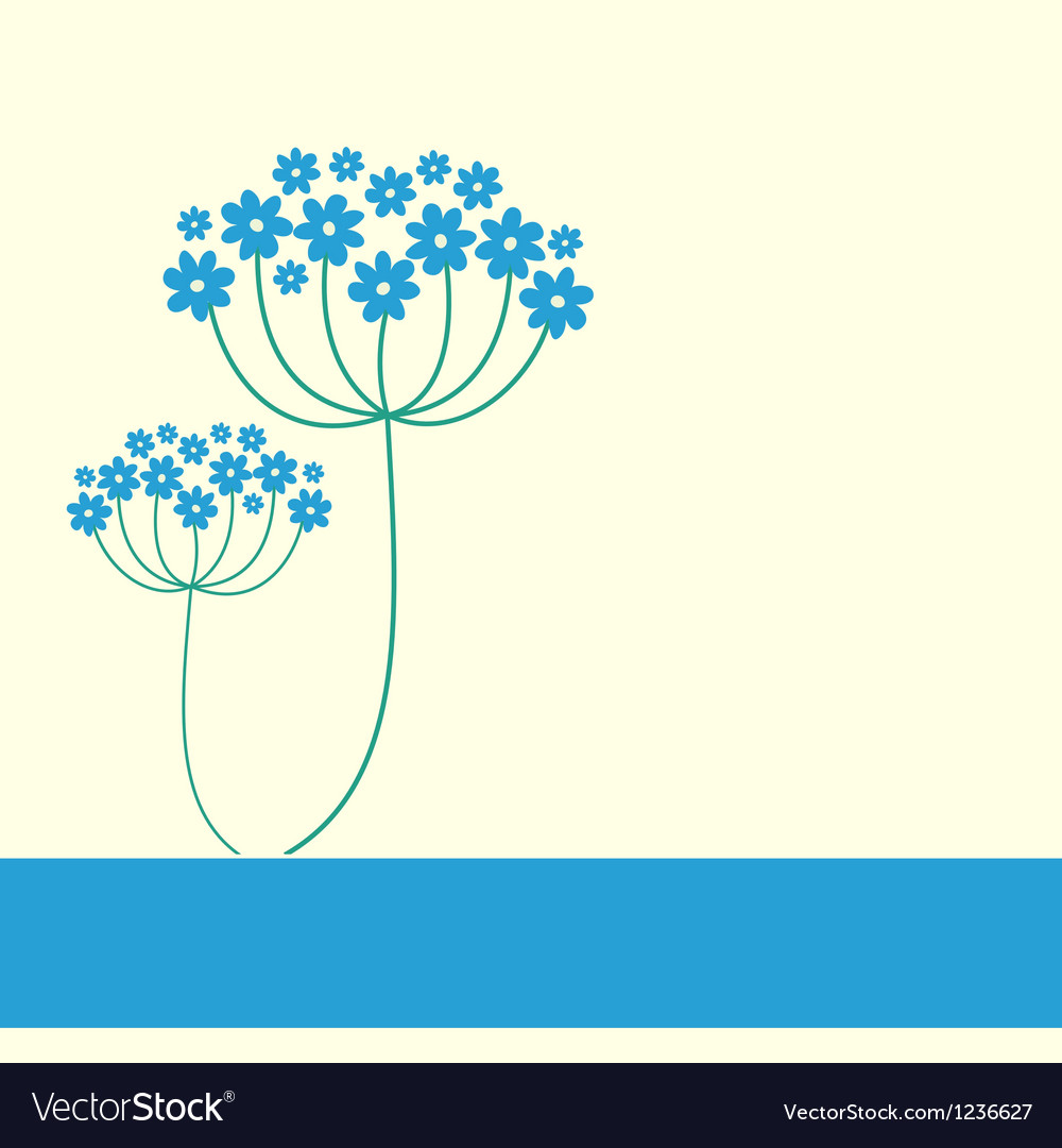 Blue flowers frame vector
