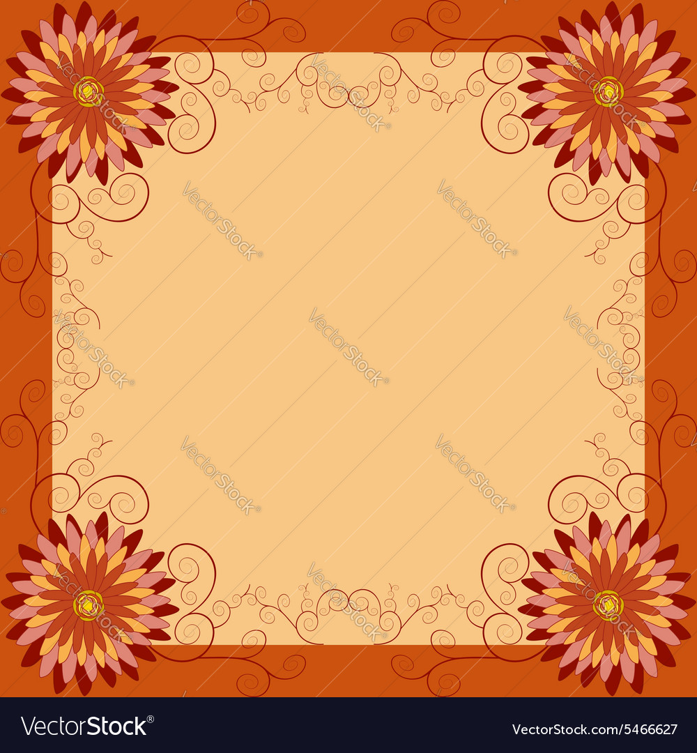 Floral vintage background with flowers and swirls vector