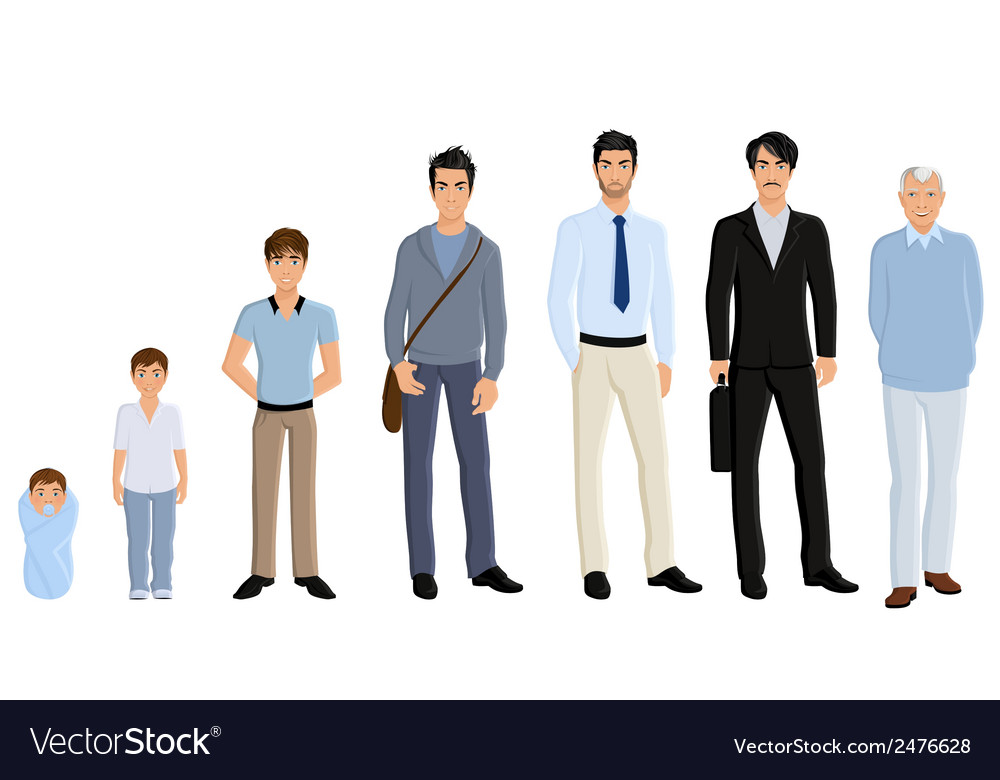Generation man set vector