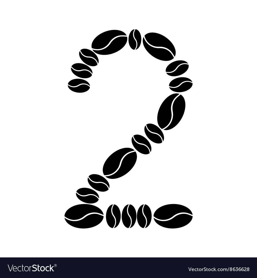 Number set from coffee beans vector