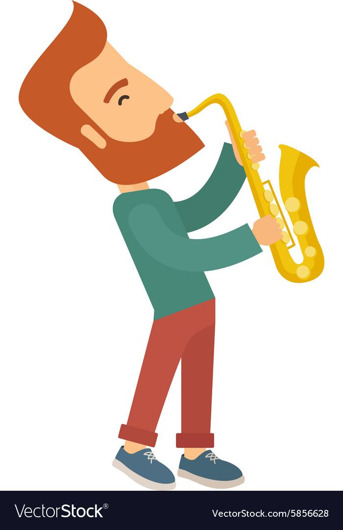Saxophonist playing in the street vector