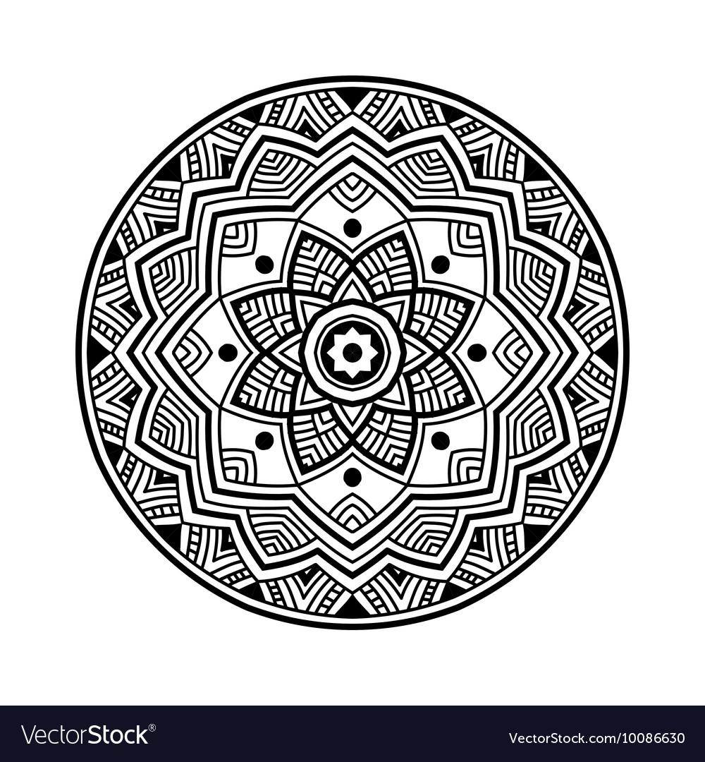 Black circle mandala vector