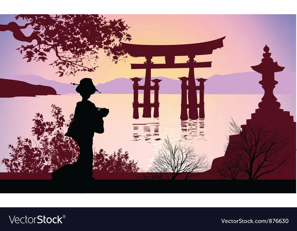 Geisha and mount fuji vector