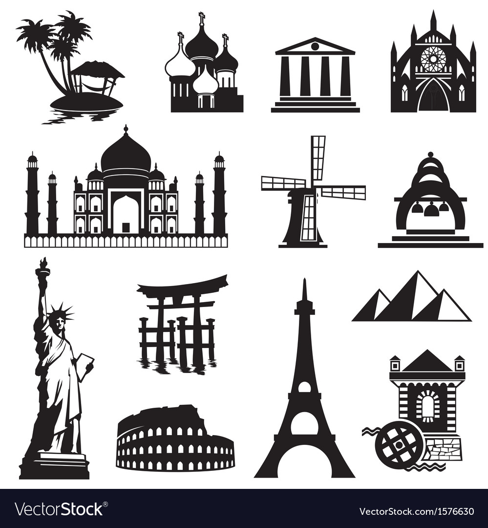 Landmarks icons set vector