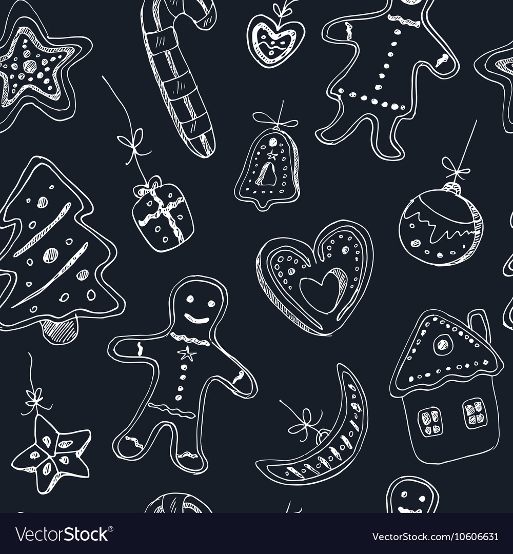 Doodle christmas cookies seamless pattern vintage vector