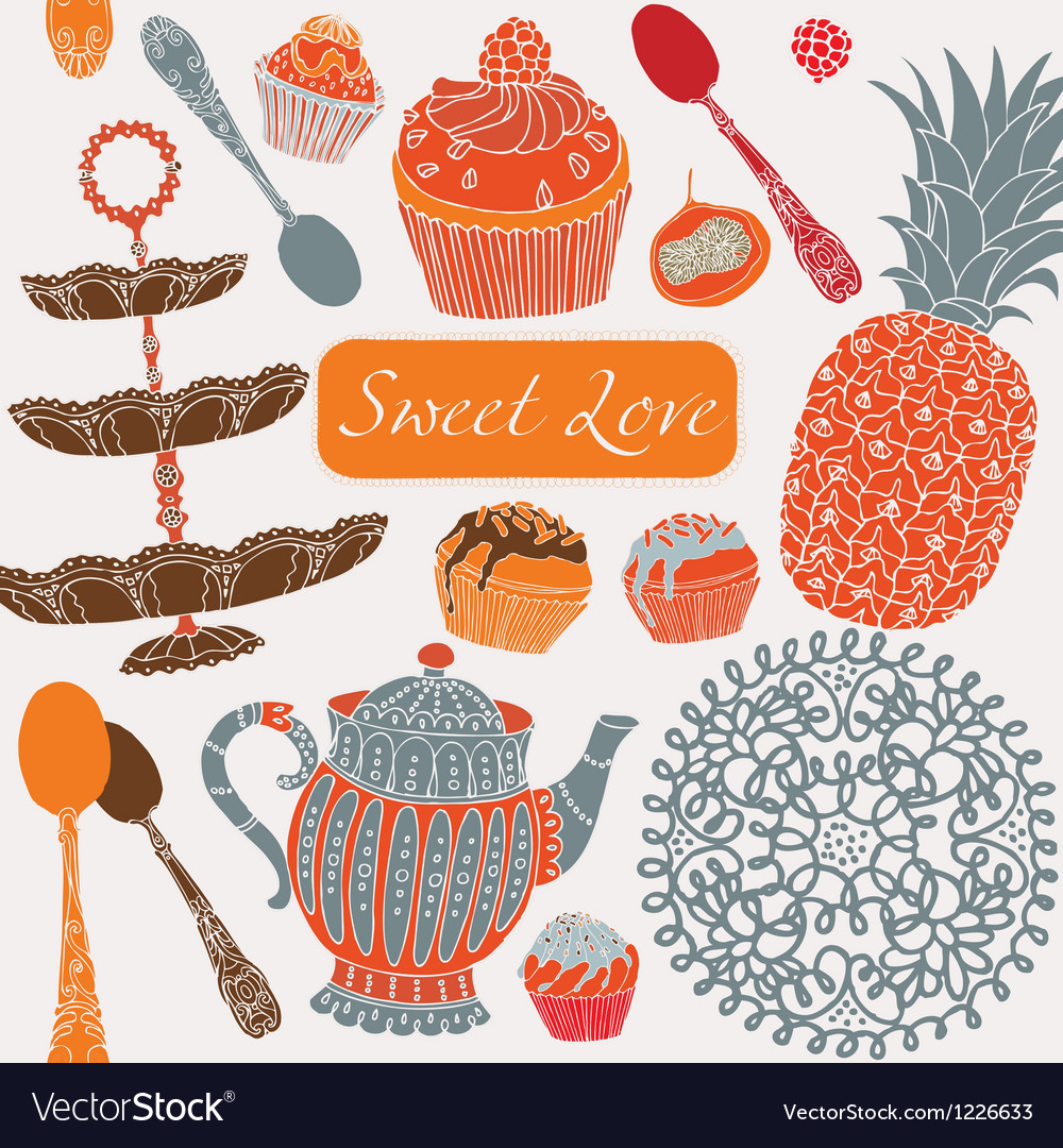 Card with tea fruits and sweets vector