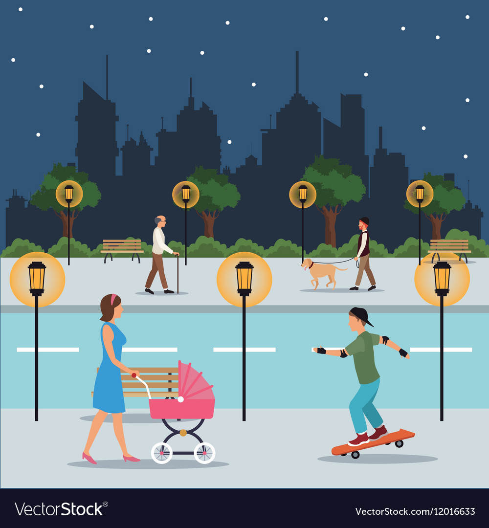 Character walking landscape night city street park vector
