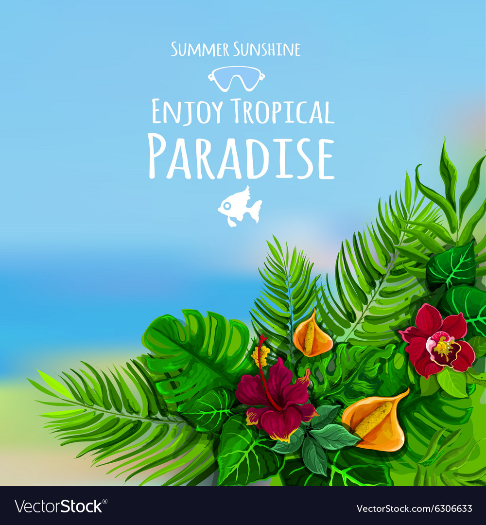 Tropical background with monstera vector