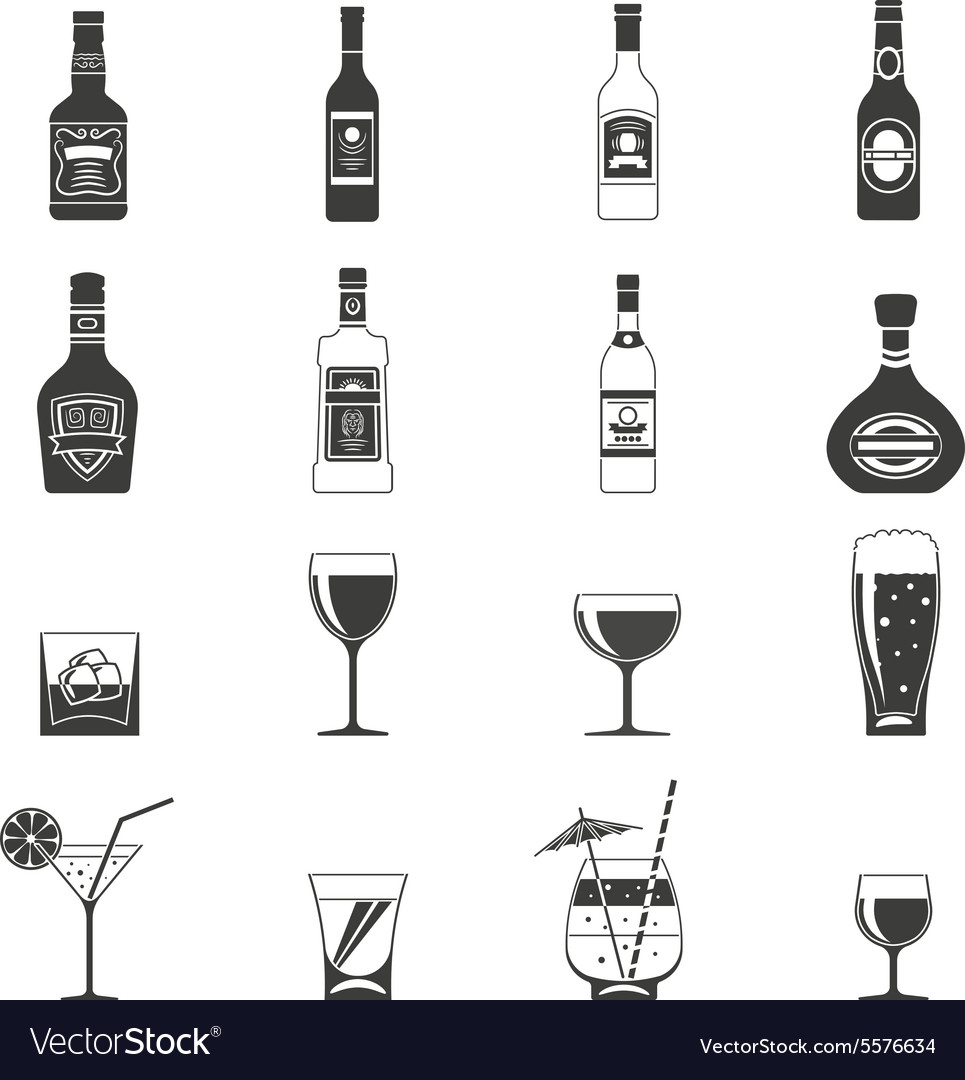 Alcohol black icons vector