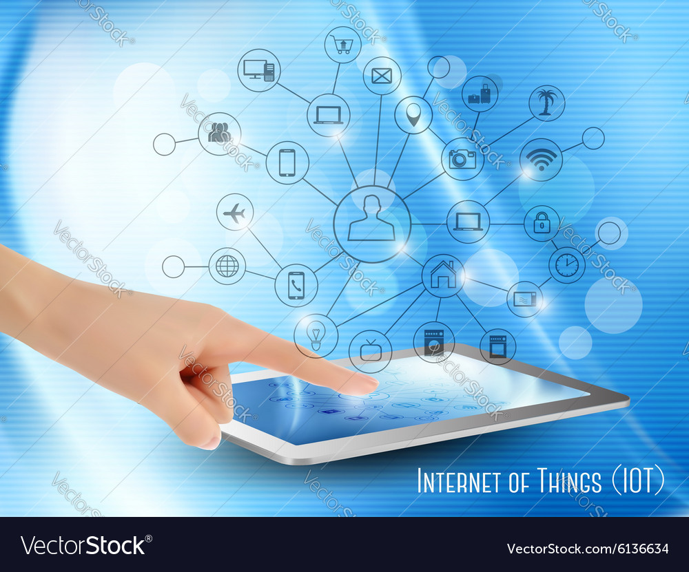 Internet of things concept iot hand holding a vector