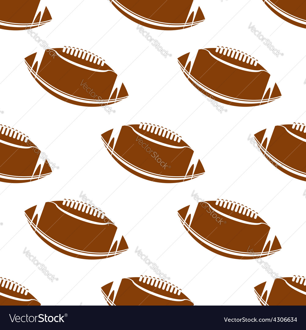 Leather brown rugby balls seamless pattern vector