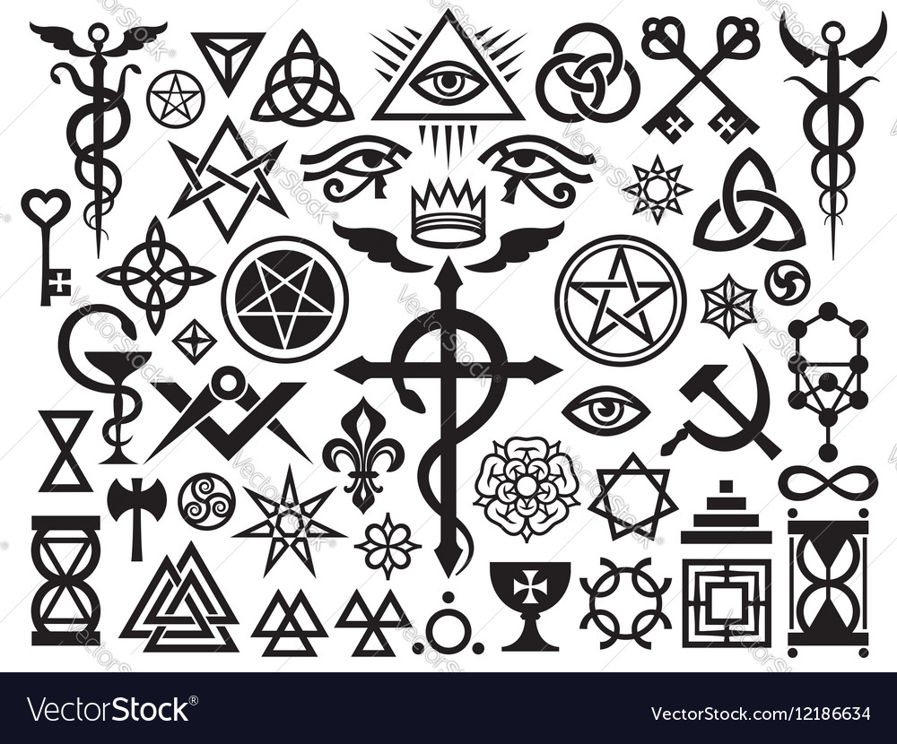Medieval occult signs and magic stamps origin vector