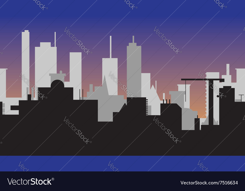 Silhouette of abstract town at sunset vector