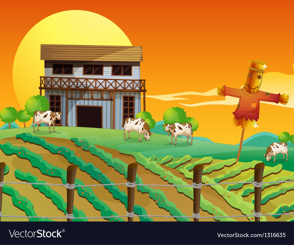 A farm with cows and a scarecrow vector