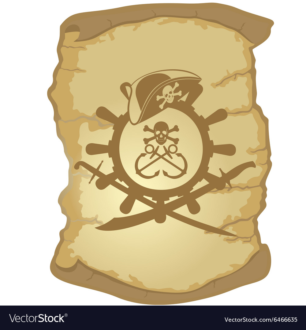 Parchment and the helm of a sailing ship1 vector