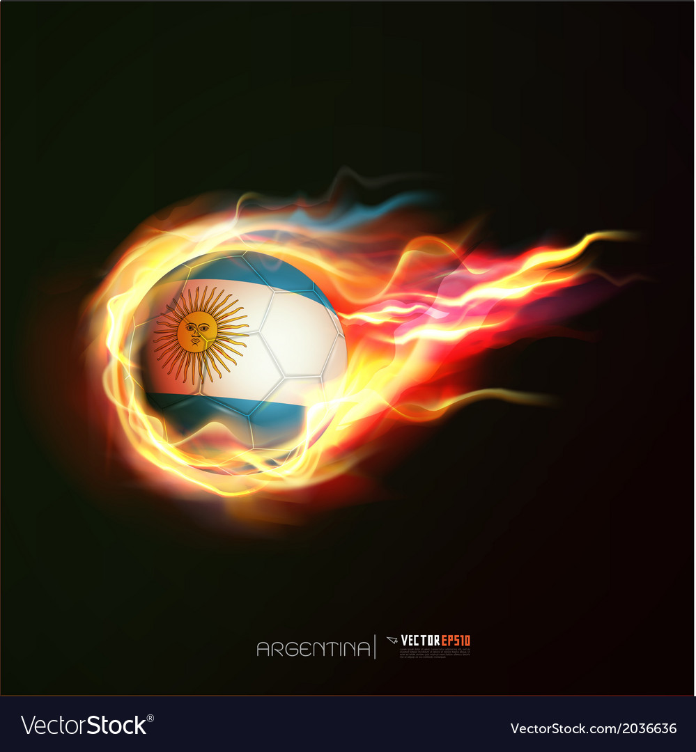 Argentina flag with flying soccer ball on fire vector