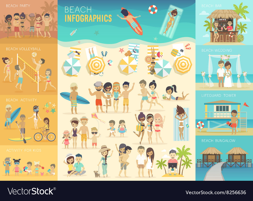 Beach infographic set with charts and other vector