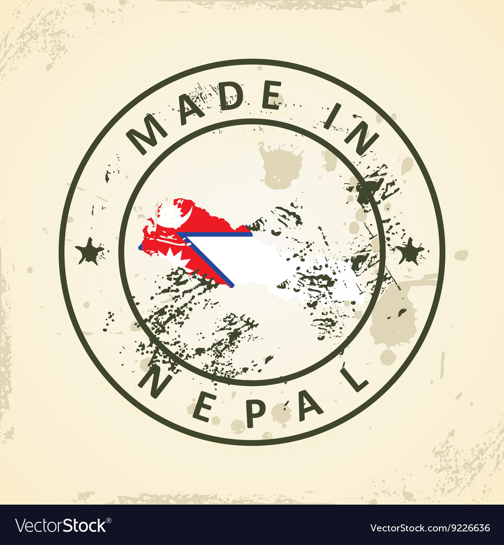 Stamp with map flag of nepal vector