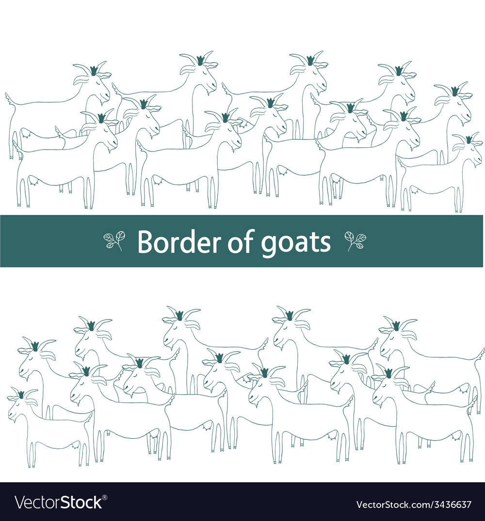 Border of goats vector