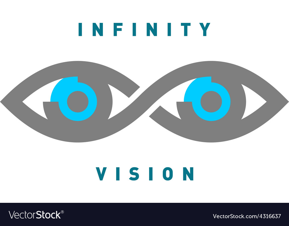 Eyes in the infinity sign shape logo vector