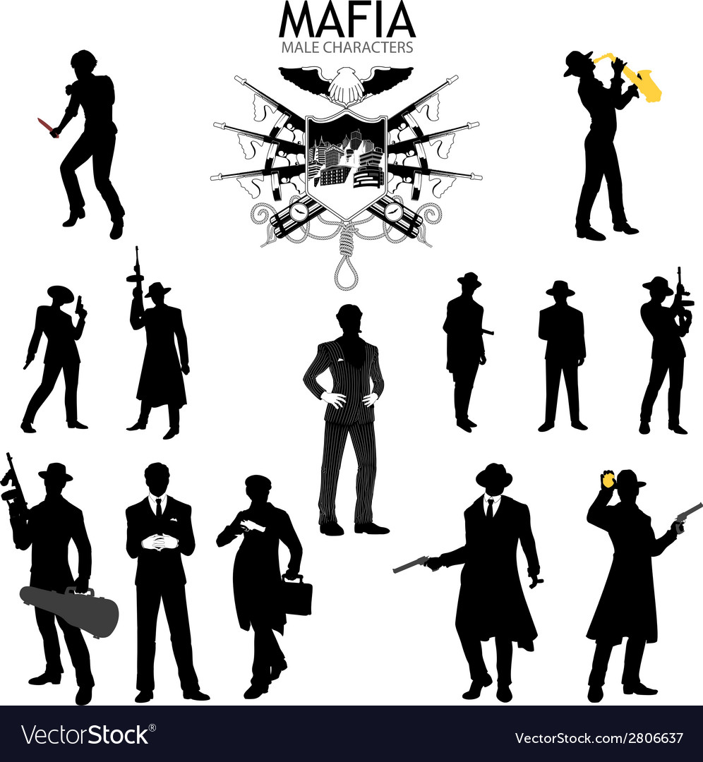 Male characters silhouettes retro mafia set vector
