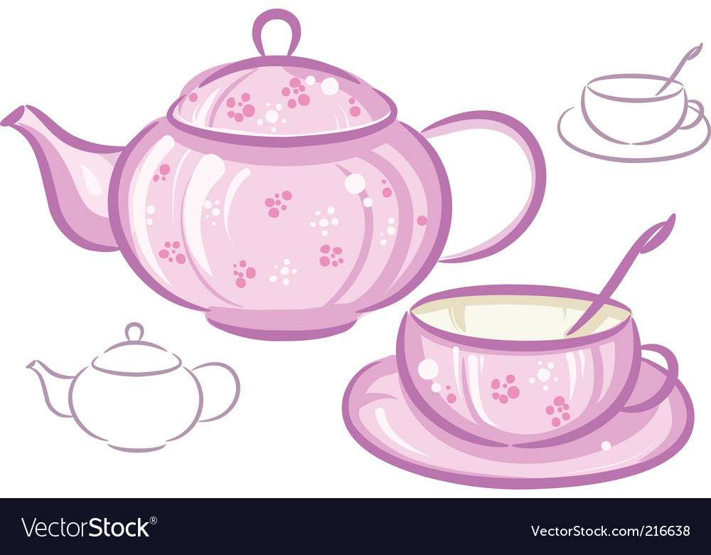 Cup and teapot vector