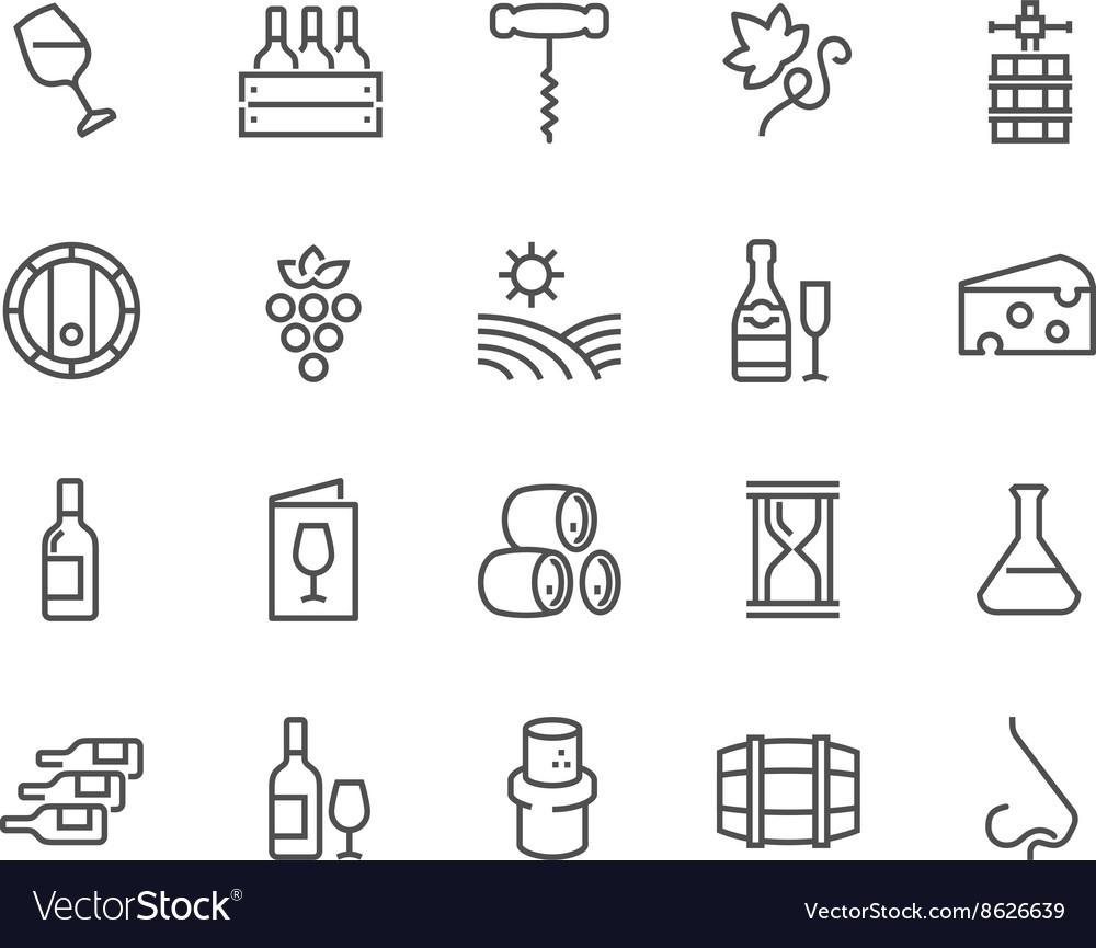 Line wine icons vector