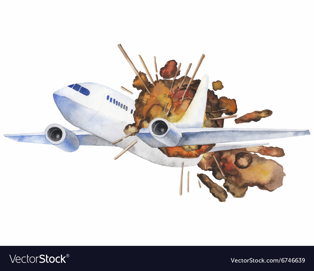 Watercolor aircraft explosion vector