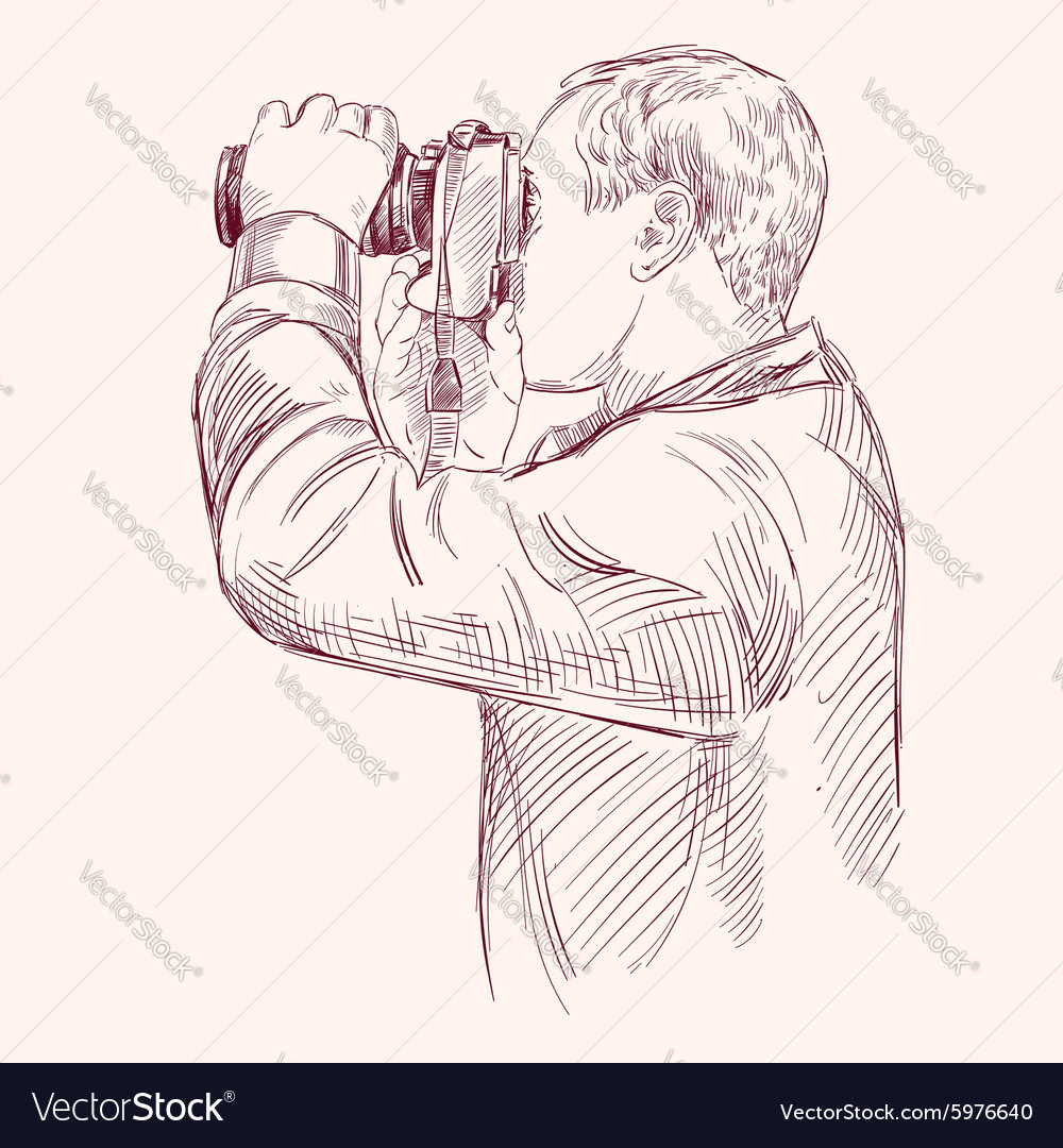 Photographer  hand drawn llustration vector