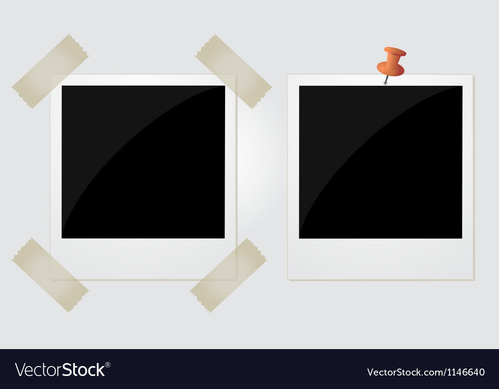 Two polaroid photos taped and pinned vector