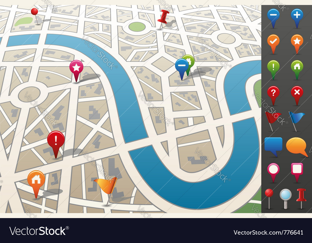 City map with gps icons vector