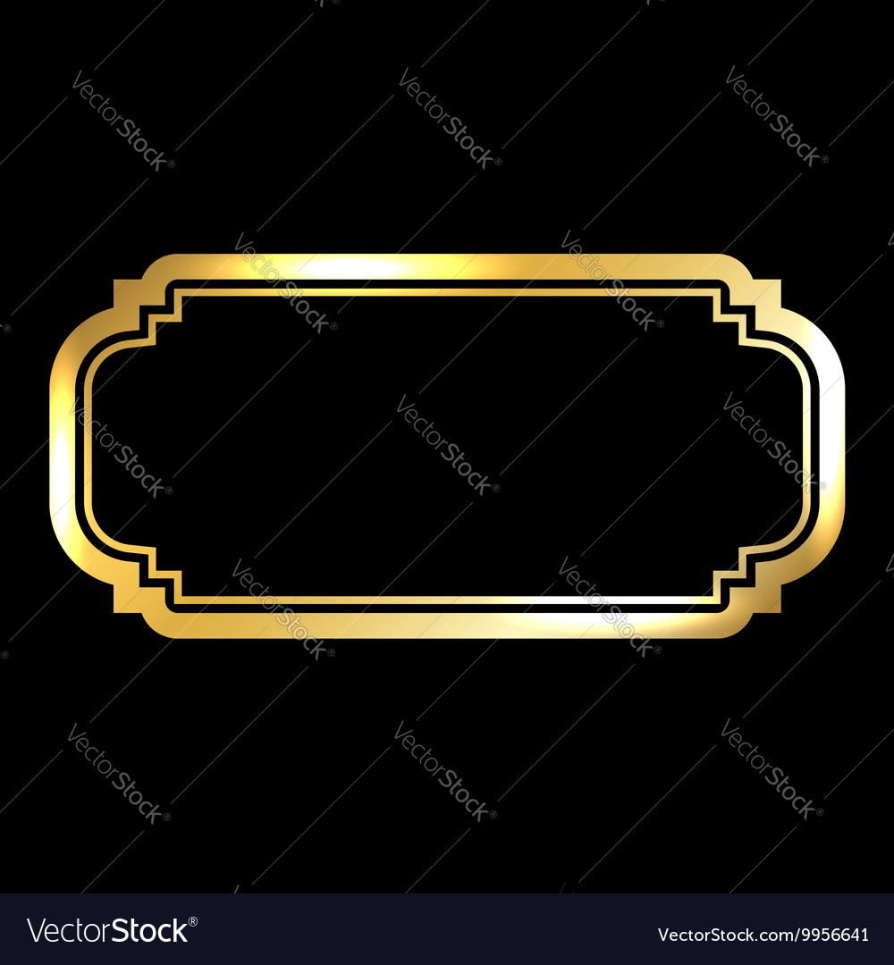 Gold frame beautiful simple golden vector