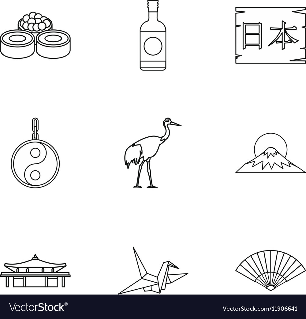 Tourism in japan icons set outline style vector