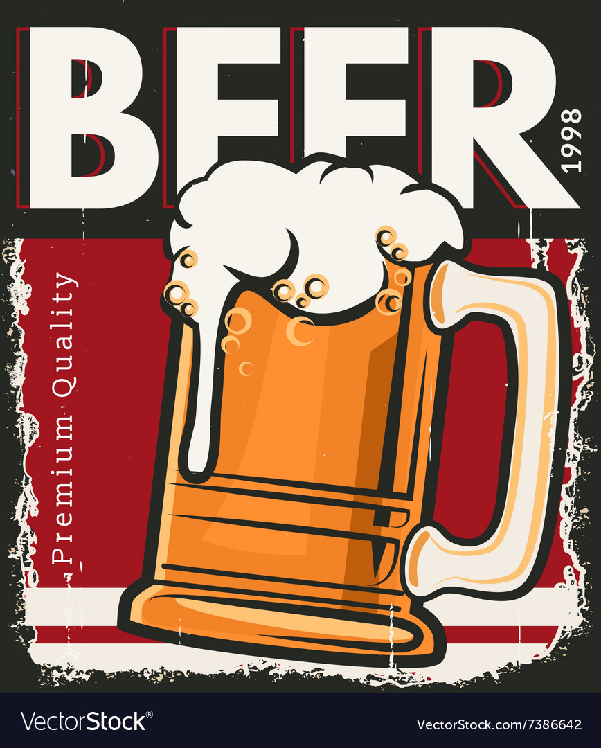 Poster retro beer vector