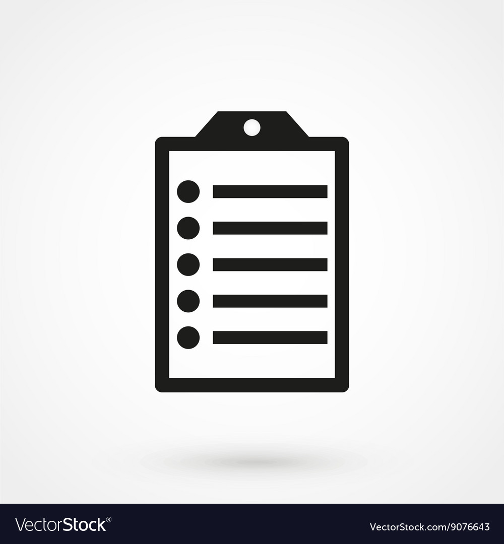 Clip board icon black on white background vector