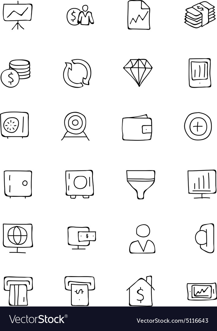 Finance hand drawn doodle icons 3 vector