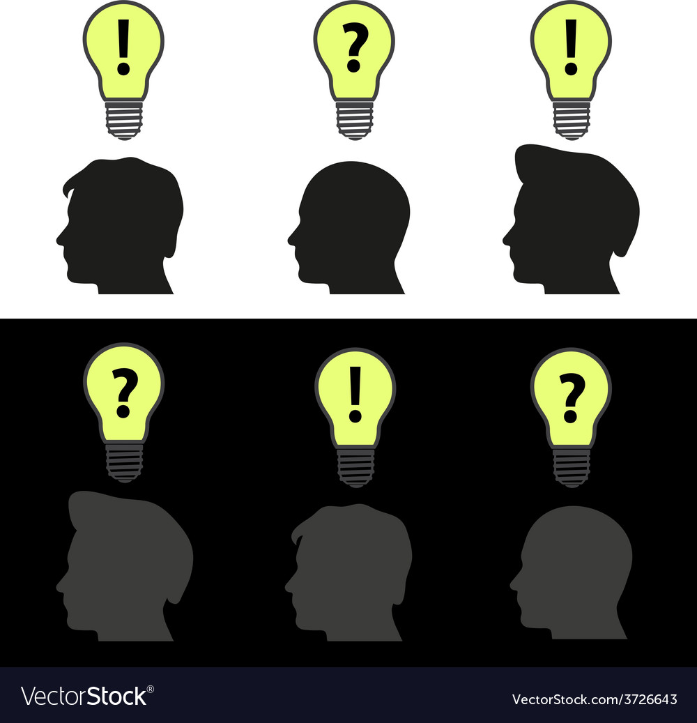 Men heads with light bulb idea symbols eps10 vector