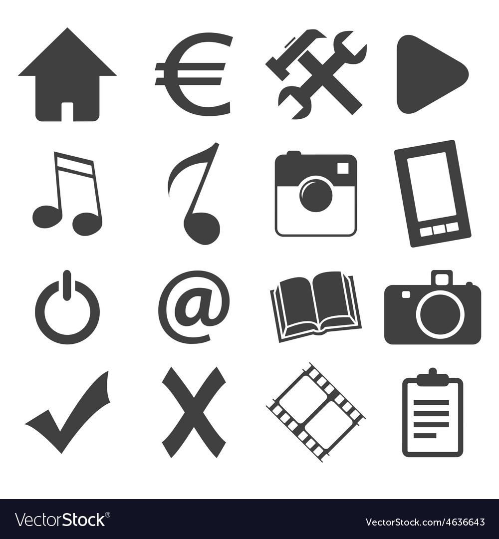Simple black icon set 1 vector