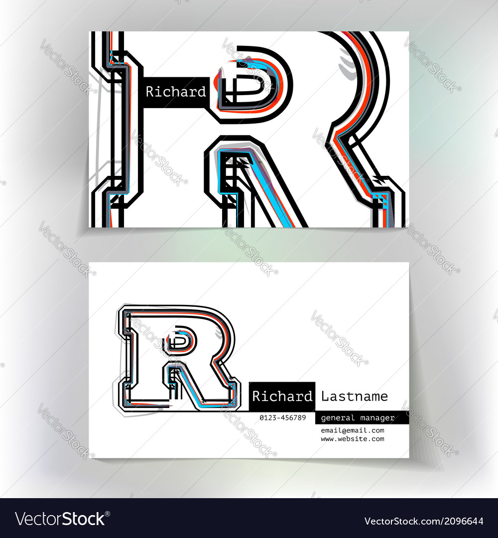 Business card design with letter r vector