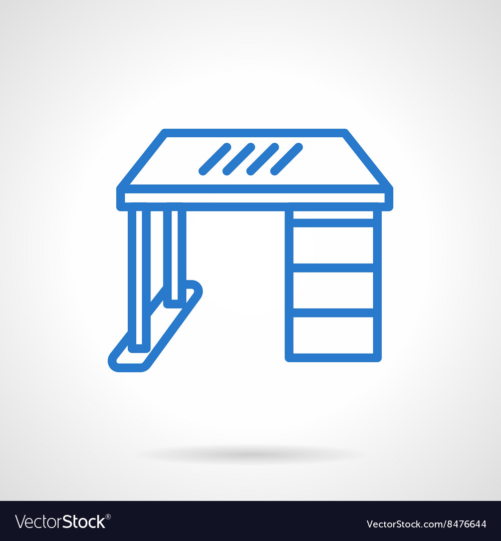 Office desk blue line icon vector
