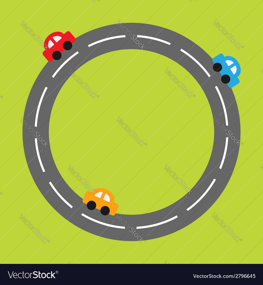 Background with round road and cartoon cars vector