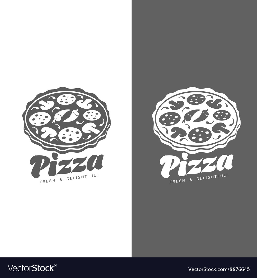 Set of monochrome pizza logos vector