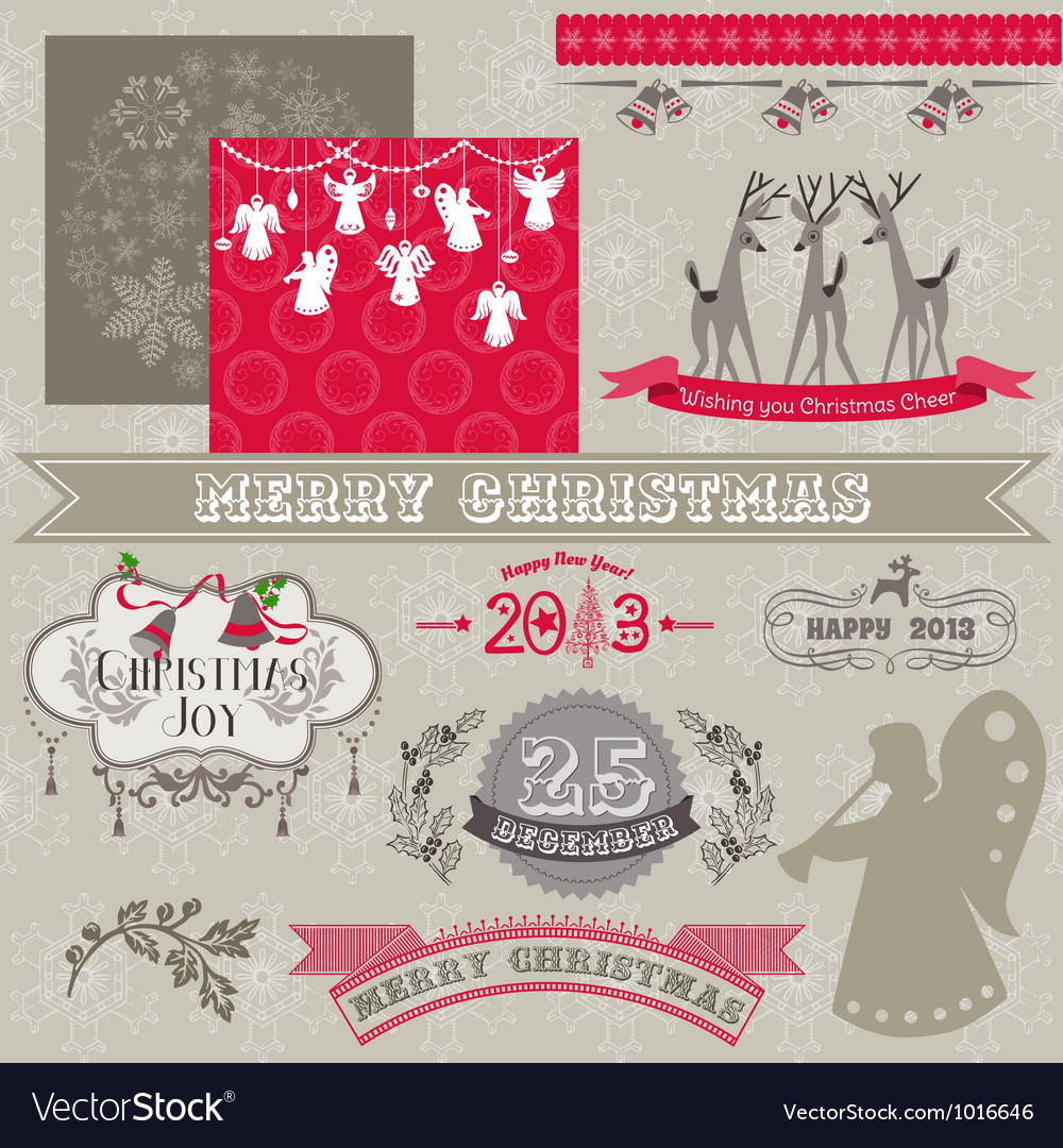 Design elements  vintage merry christmas vector