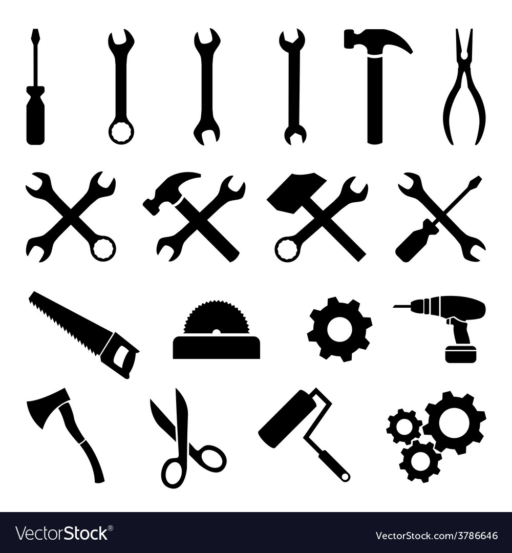 Set of black flat icons  tools technology work vector