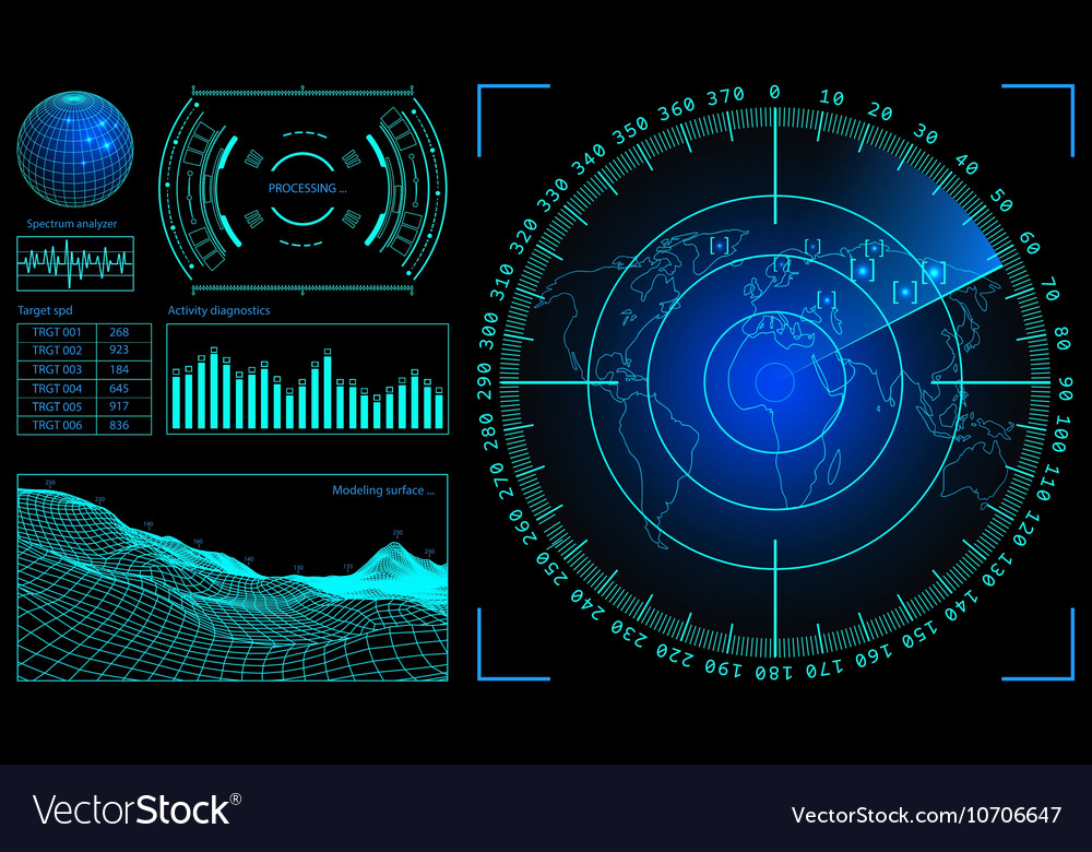 Military green radar wireframe landscape screen vector