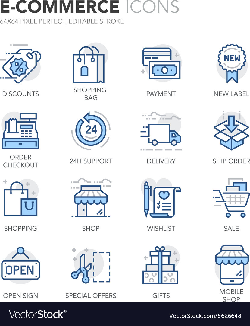 Blue line ecommerce icons vector