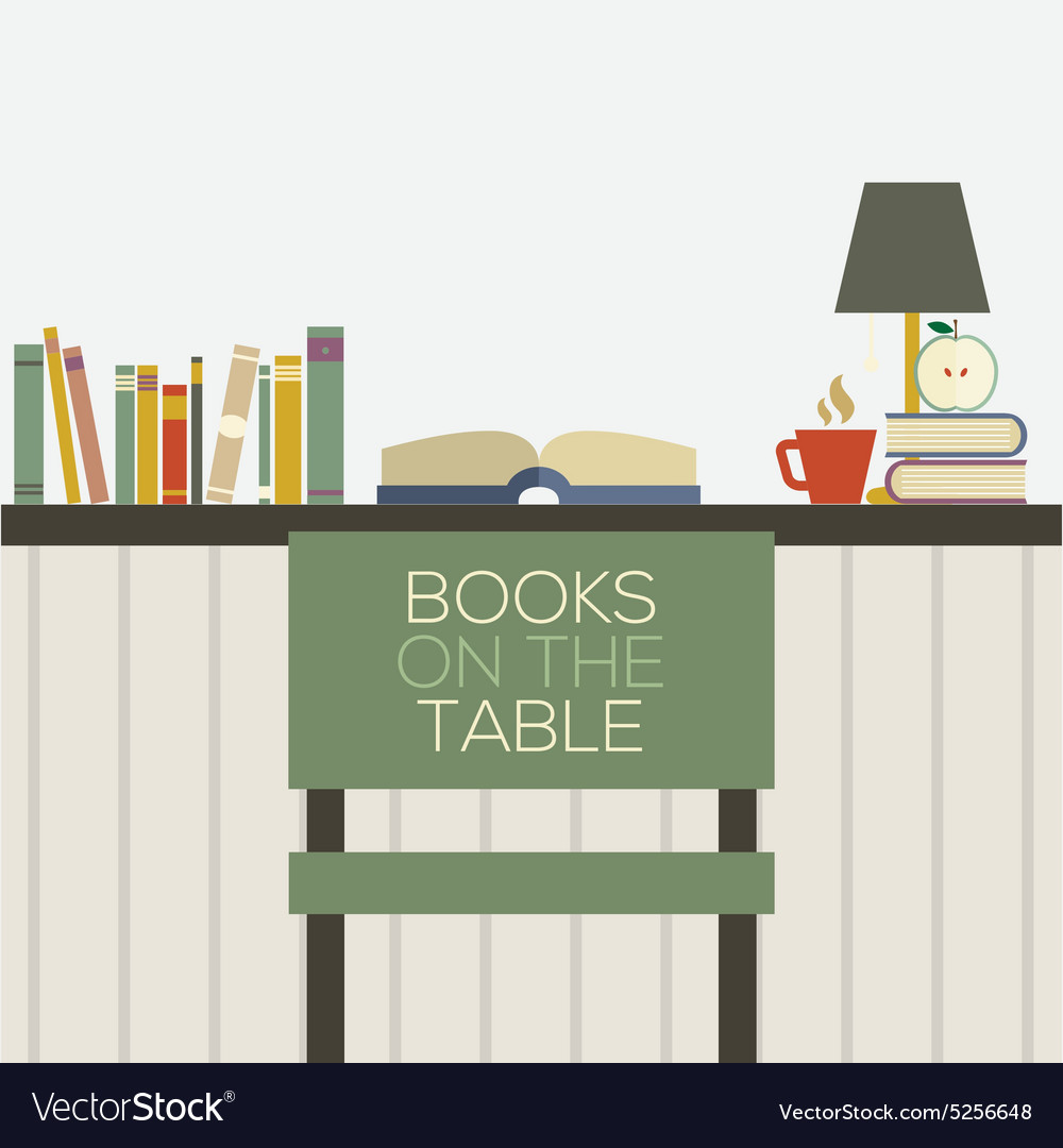 Flat design books on table vector