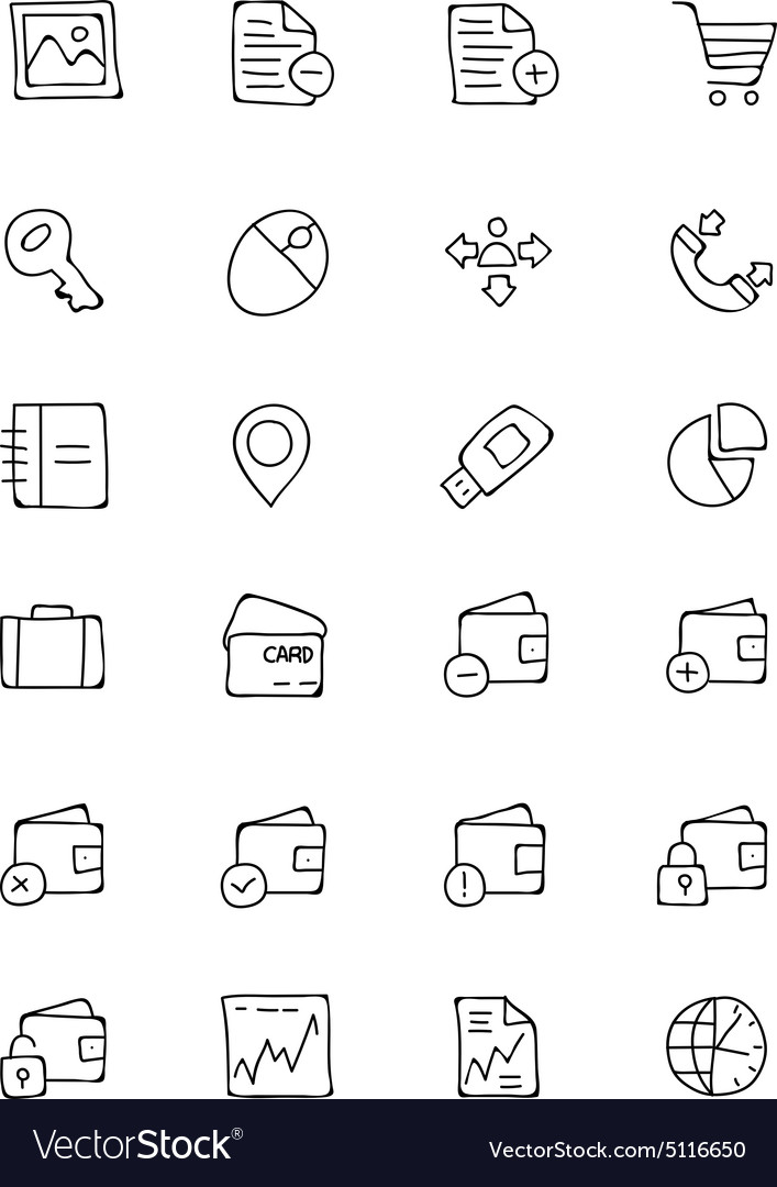 Finance hand drawn doodle icons 5 vector