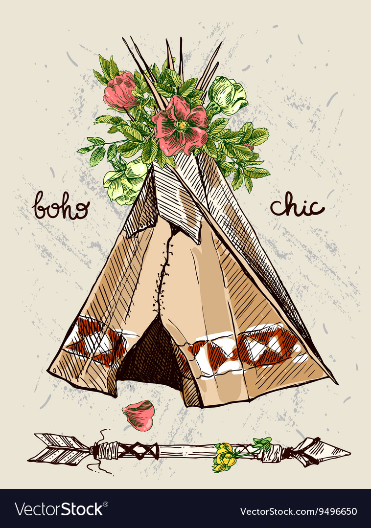 Teepee and flowers vector