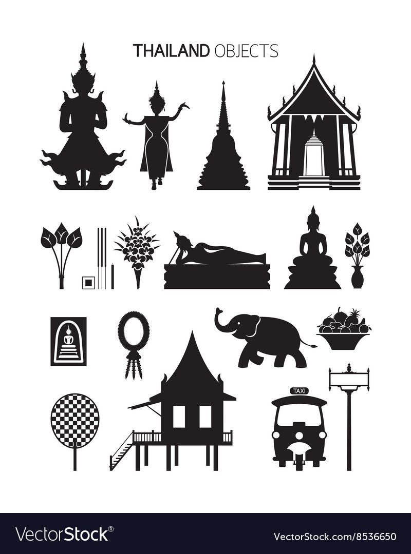 Thailand culture objects silhouette set vector